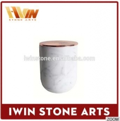 white marble candle jars with lid